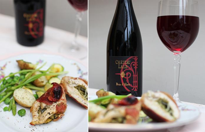 blanc de poulet et bouteille de vin Briac d'Alaric
